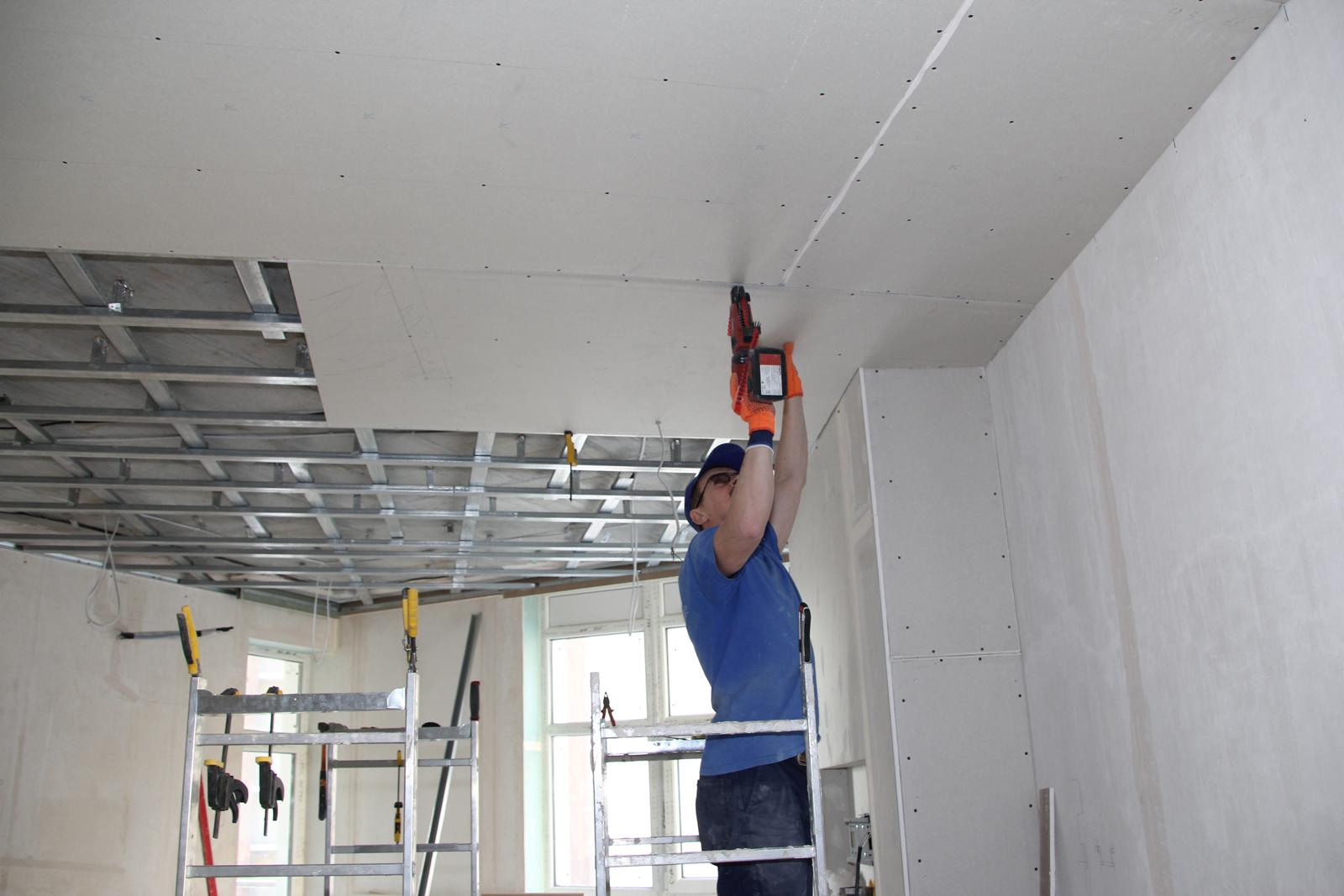 Как подшить потолок гипсокартоном